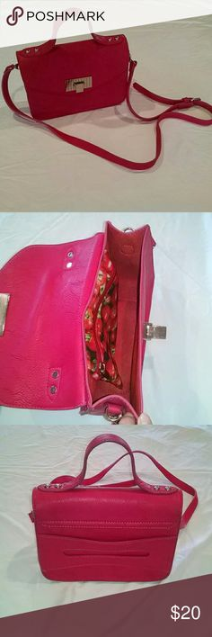 Crossbody satchel purse with removable straps Unused, tags removed pink satchel with removable and adjustable shoulder strap. Metal Brad's on bottom slow for freestanding. Storage inside and durable outside handle. Bags Satchels