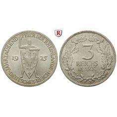 Weimarer Republik, 3 Reichsmark 1925, Rheinlande, A, vz+, J. 321: 3 Reichsmark 1925 A. Rheinlande. J. 321; vorzüglich +, kl. Kratzer… #coins
