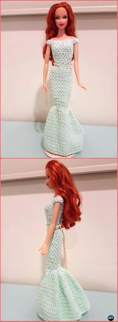 Crochet Barbie Off Shoulder Mermaid Gown Free Pattern - Crochet Barbie Fashion Doll Clothes Outfits Free Patterns