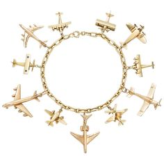 Yellow Gold Airplane Charm Bracelet | From a unique collection of vintage charm bracelets at https://www.1stdibs.com/jewelry/bracelets/charm-bracelets/