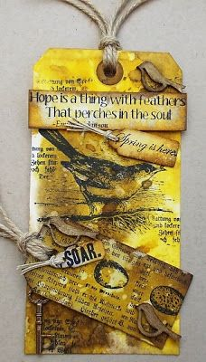 """Hope is a thing with feathers that perches in the soul."" ""Spring is here."" ""SOAR.""  ~ mixed media tag - Artistic Outpost"