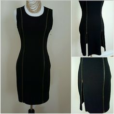 NEW black double exposed zippers dress M NEW black double exposed zippers dress M Both exposed zippers zip all way up to shoulders. Wear to office with it zipped down then unzip  one or both up as high as you choose for a night out ,both zippers lock in place .Junior's size medium BONGO Dresses Midi