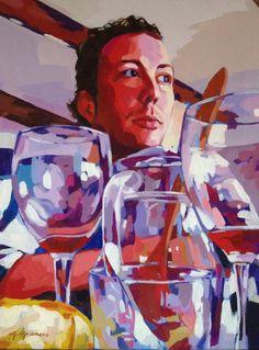Autorretrato entre copas #degranero #cursos #dibujo #pintura #fotografia #madrid #clases #academia #taller #arte #retrato www.degranero.es
