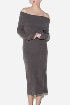 09774055c36 Light Coffee Knitted Long Sleeves Off Shoulder Midi Dress