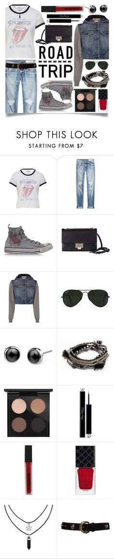 """""""Summer Road Trip Essentials"""" by ittie-kittie on Polyvore featuring rag & bone, Converse, Jimmy Choo, Moschino, Ray-Ban, Pieces, MAC Cosmetics, Christian Dior, Smashbox and Gucci"""