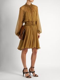 Click here to buy Chloé Ruffle-trimmed smocked silk dress at MATCHESFASHION.COM