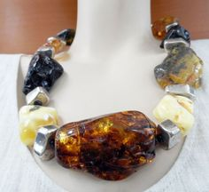 NECKLACE GENUINE BALTIC AMBER STONESRAW AMBER GIANT AMBER STERLING SILVER BEADS #HANDMADEINEUROPE #Statement