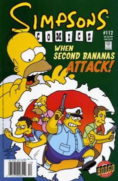 Simpsons Comics 112 - When Second Bananas Attack - Scared Homer - Skinner With Gun - Wiggum With Captains Hat - Bongo Comics - Jason Ho, Matt Groening