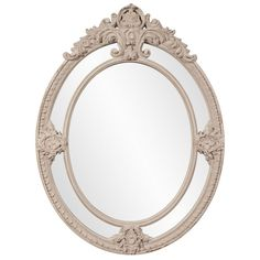 "Howard Elliott 56096 Penelope 52"" x 39"" Oval Mirror Grey Home Decor Mirrors Lighting"