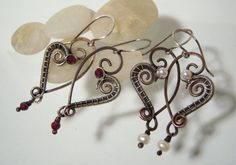 Tutorial for Rustic Heart Earrings. by JewlieBeads on Etsy