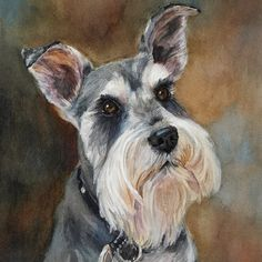 Buddy is a giclee print of a darling Schnauzer. The original is a cherished item in his familys home. I have painted almost 400 dogs, and I no longer take dog portrait commissions. Giclee prints are printed on archival watercolor paper with archival inks. They look just like the