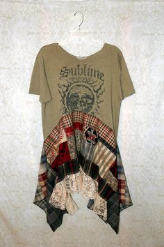 REVIVAL Boho Shirt, Bohemian Junk Gypsy Style, Grunge Rocker Girl Chic, Free People Style, Rock N Roll Plaid , Coachella Music Fest, Sublime 90s Band TShirt