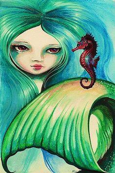 Mermaid Art | Mermaid and Seahorse - by Nico Niemi from mermaids