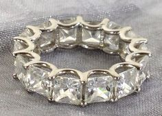 Swarovski Ring Eternity Prong Womens Size 6 Silver 925 W Crystal Encrusted New