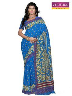 Blue Jordan Silk Designer Saree With Blouse