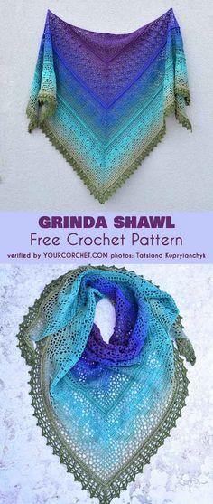Grinda Shawl Free Crochet Pattern #freecrochetpatterns #crochetpattern #shawl