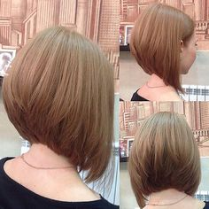 Gorgeous stacked Aline bob by To have your hair featured plea. Bob Hairstyles With Bangs, Long Bob Haircuts, Corte Channel, Aline Haircuts, Medium Hair Styles, Short Hair Styles, Aline Bob, Brown Blonde Hair, Hair Dos
