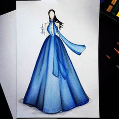 A kind of dramatic couture... By @helmyharun #hautecouture #Dramatic #Blue #Dress #fashionsketch #fashionillustration #artwork #drawing by glowing.boutique