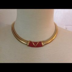 """Vintage """"Monet"""" gold & red enamel necklace This is a classy looking Vintage """" Monet """" gold flexing with red enamel detail. That old vintage quality. Excellent condition!!!!:) monet Jewelry Necklaces"""