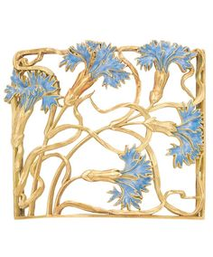 An Art Nouveau Gold and Enamel Neck Plaque. The openwork curved plaque with flowing vines tipped by flowers decorated with blue enamel, circa 1900. #ArtNouveau #choker #plaque