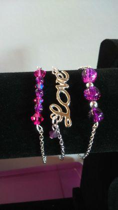 """Jolie lot de trois bracelets """"Love"""" Collection 2016 By La Fée perleuse : Bracelet par purple-cat-creations"""