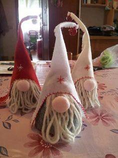 """I wanted to share our collection of Christmas gnomes. They are called Nisse (Norwegian) or Tomte (Swedish). Tomte literally means """"Homestead Man"""" so I thought Christmas Makes, Christmas Gnome, Christmas Projects, All Things Christmas, Felt Crafts, Holiday Crafts, Xmas Ornaments, Christmas Decorations, Scandinavian Christmas"""