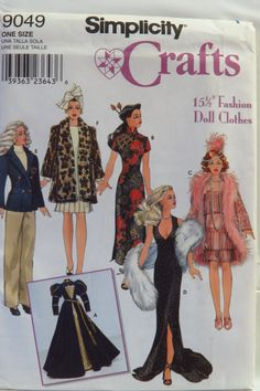 """Simplicity 9049 15½"""" Fashion Doll Clothes"""