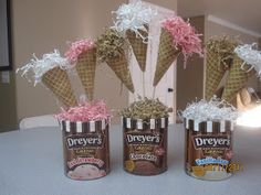 Everybody loves ice cream, making it a perfect party theme.  A picture of our whole spread   The centerpieces were made using large waffle c...