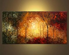 Abstract Landscape Palette Knife Painting - Original Contemporary Modern Art by Osnat. MADE-TO-ORDER painting, it will be as close as possible to Canvas Painting Landscape, Forest Painting, Landscape Art, Painting Trees, Forest Landscape, Contemporary Landscape, Painting Art, Contemporary Artists, Palette Knife Painting
