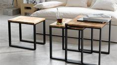 tables basses gigognes bois et métal