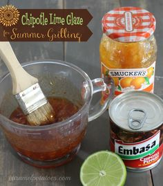 We love grilling in the summer and this is one of our favorite sauces- a sweet glaze with a little kick of chipotle. It's so simple to make {only 3 ingredients}, but is packed with great fla… Chipotle, Grilling Recipes, Cooking Recipes, Great Recipes, Favorite Recipes, Marinade Sauce, Homemade Sauce, What To Cook, Creative Food