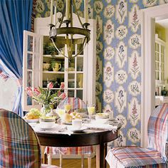 Breakfast Room Scalamandre  Giselle wallpaper & Le Cirque plaid chair covers