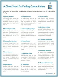 If you're not excited about the content you're creating, it's unlikely that the people seeing it will be inspired to take action.  The good news is that there are tons of sources of content inspiration that you can tap into throughout the fall months.  Check out the cheat sheet below for tons of new content ideas (scheduled via http://www.tailwindapp.com?utm_source=pinterest&utm_medium=twpin&utm_content=post54398342&utm_campaign=scheduler_attribution)