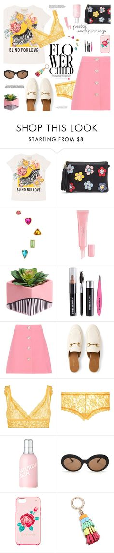 """pretty underpinnings"" by little-curly-juli on Polyvore featuring Gucci, Betsey Johnson, Christian Dior, Tweezerman, Miu Miu, Hanky Panky, Saturday Skin, Kate Spade, Sophia Webster and prettyunderpinnings"