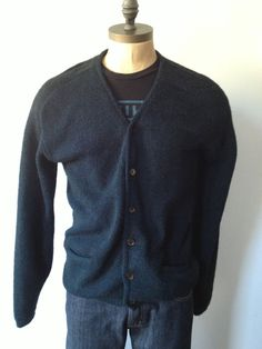 Vintage MENS Towncraft Plus blue black cardigan by pandaJpanda, $28.00