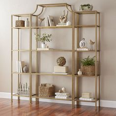 Crosley Furniture Aimee Etagere Bookcase - Gold and Glass Etagere Bookcase, Ladder Bookcase, Bookshelves, Gold Etagere, Gold Bookshelf, Glass Bookcase, Bookshelf Styling, Bookcase Storage, Home Living
