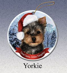 Items similar to Holiday Pet Gifts Yorkie Santa Hat Dog Porcelain Christmas Ornament on Etsy Yorkshire Terrier Haircut, Yorkshire Terrier Puppies, Dog Christmas Ornaments, Christmas Dog, Christmas Images, Christmas Ideas, Yorshire Terrier, Yorky, Yorkie Puppy