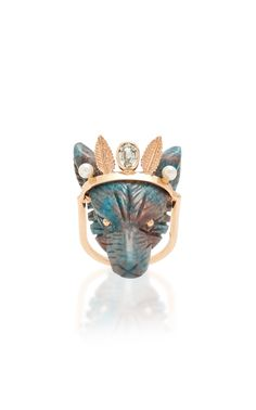 La Reina Coyote Ring by Daniela Villegas 18k Rose Gold, 18k Gold, Jewelry Rings, Fine Jewelry, Jewellery, Pearl Color, Animal Jewelry, Natural World, Fashion Jewelry