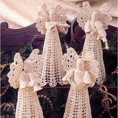 Your holiday season is sure to be merry and bright when you display our celestial Angels in Harmony band. Using only one angel pattern plus individual patterns for a trumpet, flute, violin, and music book, you can create a group that will be perfect placed on the tree or wrapped up as a present for the music lover in your life. Our designs are crocheted using bedspread weight cotton thread (size 10) and a size 8 (1.50 mm) steel crochet hook and stiffened with commercial fabric stiffener…