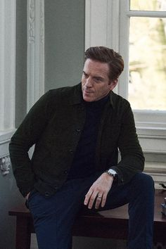 Damian Lewis wearing  Brunello Cucinelli Slim-Fit Seam-Detailed Cotton-Twill Trousers, Oliver Spencer Slim-Fit Suede Jacket