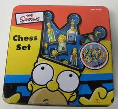 The Simpson's Chess Set Metal Box Tin Case Missing Instructions 1998 Tin Dented #Cardinal