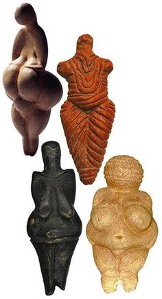 """""""By calling attention to the reproductive and nourishing functions of a woman's body, these figures tell us Paleolithic people viewed her ability to create new life out of her own body with religious awe. Birth was the earliest sacred mystery. The broad hips and full buttocks suggest her powerful ability to procreate.From her large, luxurious, pendulous breasts flows the nourishing milk of life.""""    — When The Drummers Were Women, Layne Redmond"""