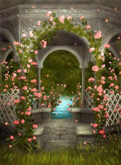 Flower Garden Gazebo : garden gazebo more secret gardens my rose garden garden art backdrop ...
