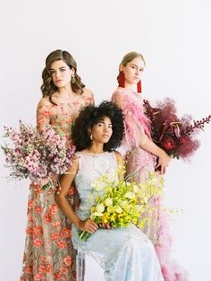 High fashion gowns, statement jewelry and vibrant hues all come together in this wedding inspiration for the modern bride. Floral Wedding, Wedding Colors, Wedding Styles, Whimsical Wedding, Bridal Gowns, Wedding Gowns, Wedding Bouquets, Floral Fashion, High Fashion