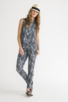The Alter Ego feather print jumpsuit. Feels like pajamas...but looks like a lady.