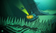 The Sea Cats chase dinner into a dark cave under the sea Dark Cave, Comic Styles, Rowan, Under The Sea, 2d, Northern Lights, Sketches, Illustrations, Cartoon