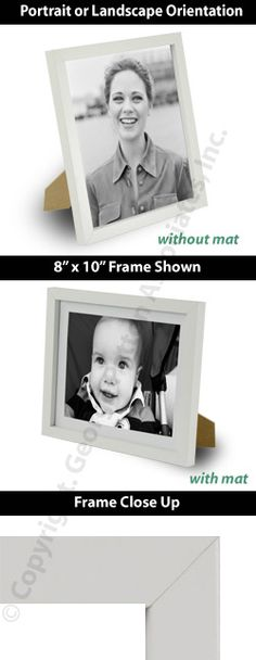 6 X 8 Picture Frame With Removable Mat, For Tabletop Or Wall - White