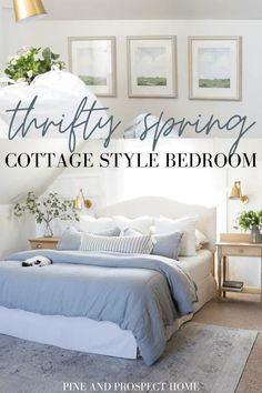 Today I'm sharing our thrifty spring cottage style bedroom tour! Today I'm sharing our thrifty spring cottage style bedroom tour! Cottage Style Bedrooms, Farmhouse Bedroom Decor, Country Farmhouse Decor, Dublin, Small Table And Chairs, Kitchen Sink Design, Dark Wood Furniture, New Countertops, Layout
