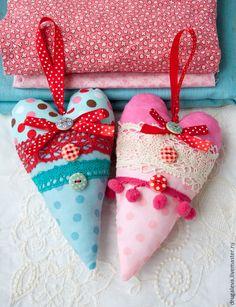 Тильда сердечки В Горошек - розовый, тильда, тильда сердце, сердечко, сердечки, handmade