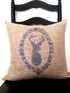 Deer Antler Silhouette Burlap & Chevron Pillow. $34.00, via Etsy.